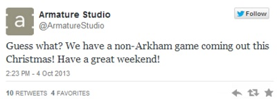 Armature Studio has a New Game Coming This Xmas, but it Won't be an Arkham Title